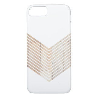 White Minimalist chevron with Wood iPhone 8/7 Case