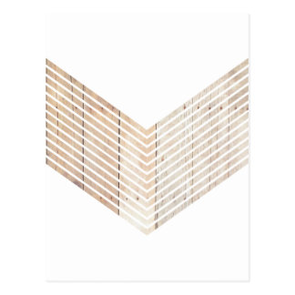 White Minimalist chevron with Wood Postcard