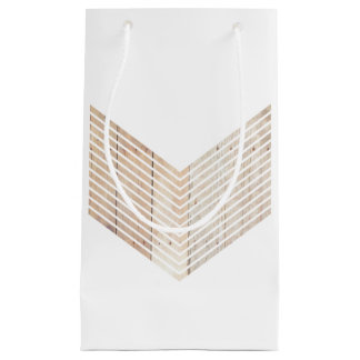 White Minimalist chevron with Wood Small Gift Bag