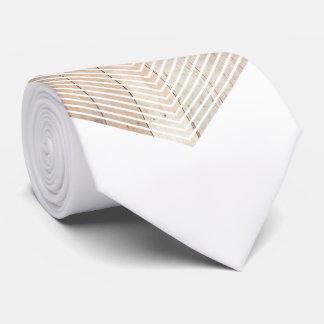 White Minimalist chevron with Wood Tie