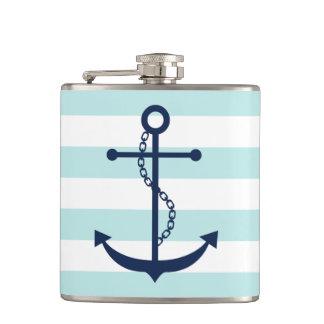 White Mint & Blue Wide Stripes Pattern Anchor Hip Flask