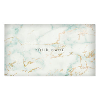 White Mint Green Gold Gray Marble Vip Pack Of Standard Business Cards