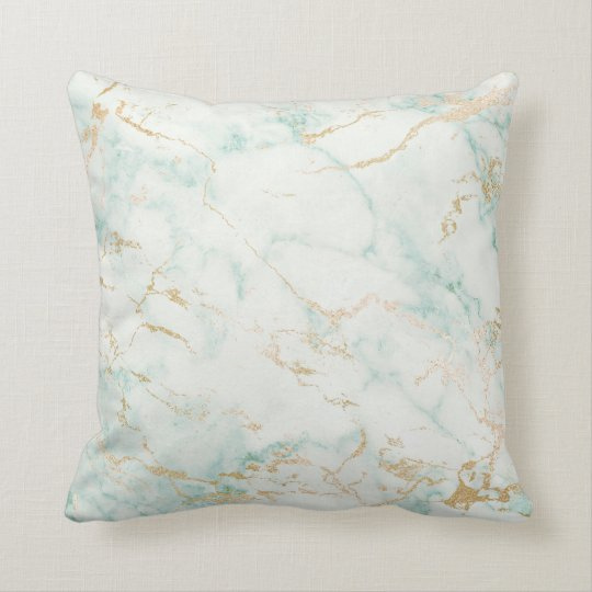 White Mint Green Marble Gold Gray Glam Throw