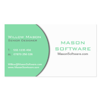White & Mint Green Technology Business Card