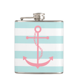 White Mint & Pink Wide Stripes Pattern Anchor Hip Flask