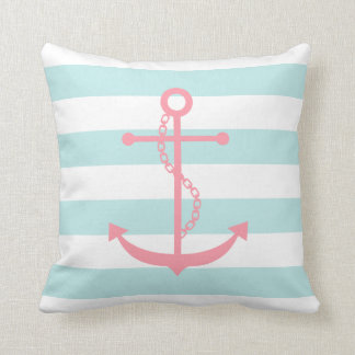 White Mint & Pink Wide Stripes Pattern Anchor Throw Cushions