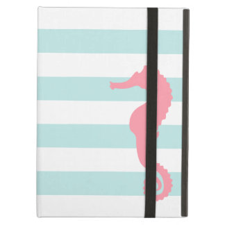 White Mint & Pink Wide Stripes Pattern Seahorse iPad Air Case