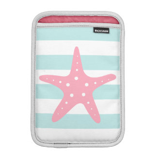 White Mint & Pink Wide Stripes Pattern Starfish iPad Mini Sleeve