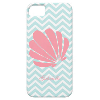 White Mint & Pink Zigzag Pattern Seashell Case For The iPhone 5