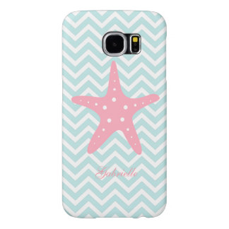 White Mint & Pink Zigzag Pattern Starfish Samsung Galaxy S6 Cases