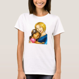 """White Mom hugging mixed race daughter"" T-Shirt"
