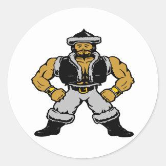 White Mongol Hun Warrior Classic Round Sticker