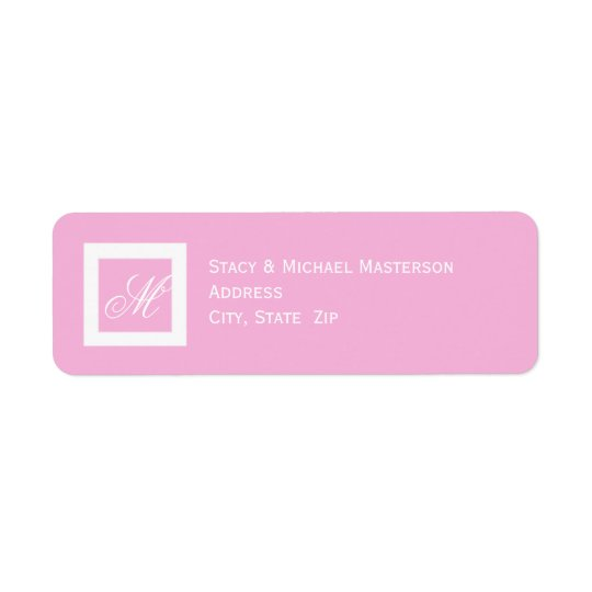White Monogram on Pink Wedding Return Address Label