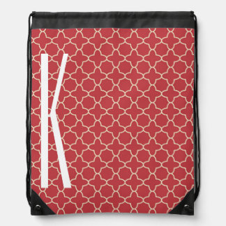 White Monogram on Retro Red Quatrefoil Pattern Drawstring Bag