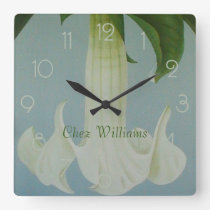 White Moonflower Angels Trumpets Personalised Square Wall Clock