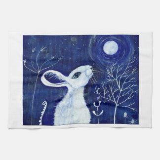 White moongazing hare tea towel