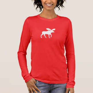White Moose Silhouette Long Sleeve T-Shirt