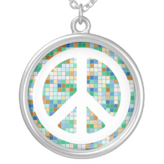 White Mosaic Peace Sign Necklace