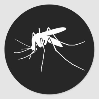 White Mosquito Side View Classic Round Sticker