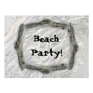 White Moss on Driftwood Beach Party Announcements