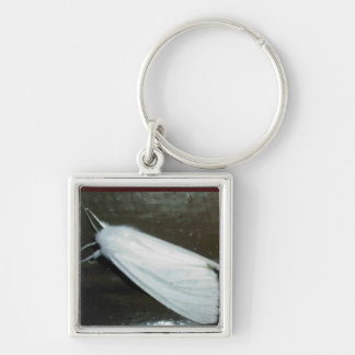 white moth Silver-Colored square key ring