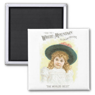 White Mountain Ice Cream Freezer Square Magnet
