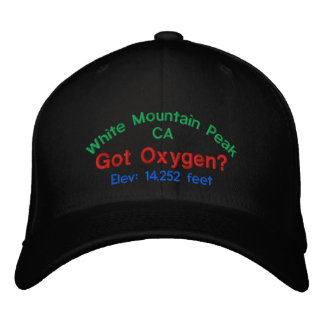 White Mountain Peak California Elevation Cap Embroidered Hat
