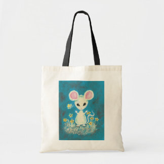 White Mouse with Yellow Flowers & Butterfly. Tote Bags