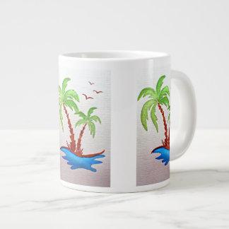 White Mug with Palm Trees
