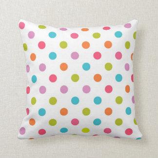 White Multicolor Polka Dot Throw Pillow