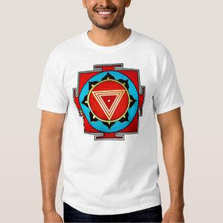 White Multicolored Kali Yantra Tee