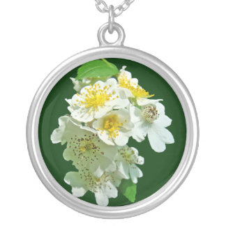 White Multiflora Roses Wildflower Round Pendant Necklace