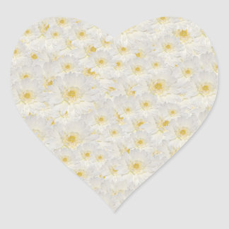 White Mums Heart Sticker