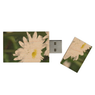 White Mums Wood USB 2.0 Flash Drive