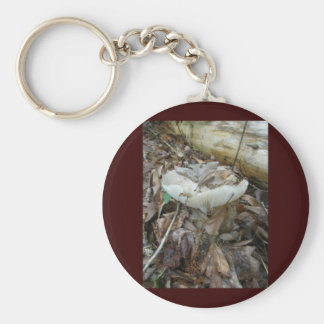 White Mushroom Coordinating Items Basic Round Button Key Ring