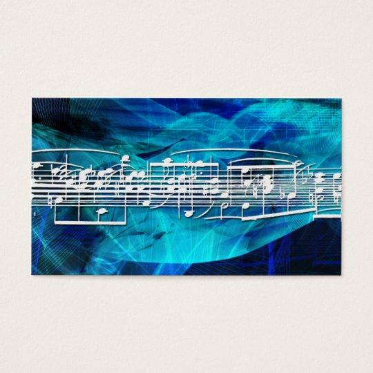 White Music Notes  Business Cards