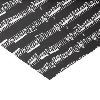 white music notes sheet on black