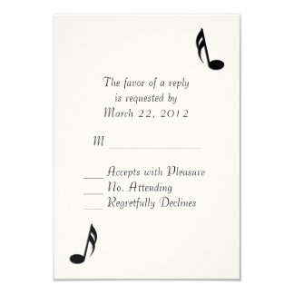 White Music Wedding RSVP 9 Cm X 13 Cm Invitation Card