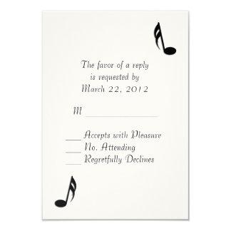 White Music Wedding RSVP 9 Cm X 13 Cm Invitation Card