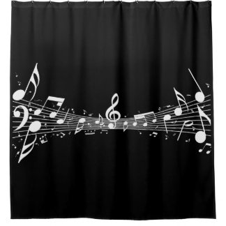 White Musical Notes Design Shower Curtain