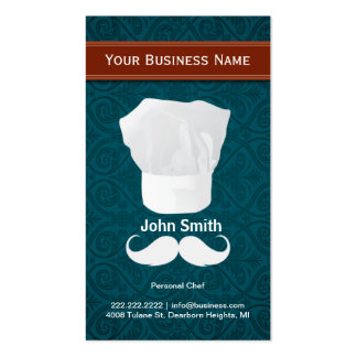 White mustache Personal Chef business card