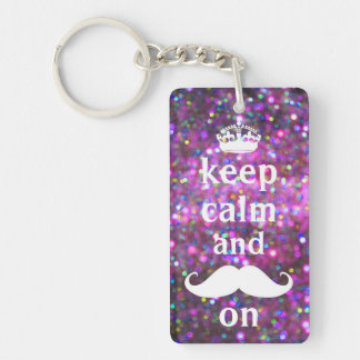 White Mustache With Purple And Pink Sparkle Key Ring