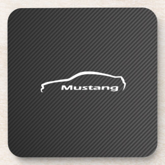 White Mustang GT  Coupe Silhouette w/ Faux Carbon Beverage Coaster