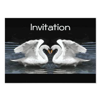 White Mute Swan Mirror Image 13 Cm X 18 Cm Invitation Card