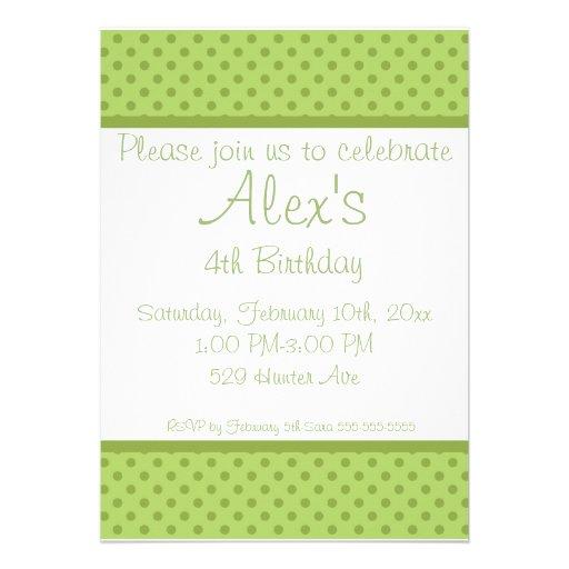 White n Green Polka Dot Birthday Party Invitation