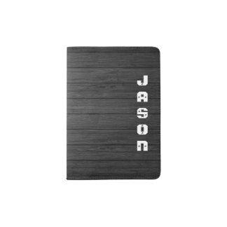 White Name On Black Wood Personalized Passport Holder