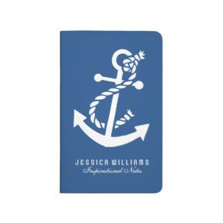 White Nautical Boat Anchor Over Navy Blue Journal