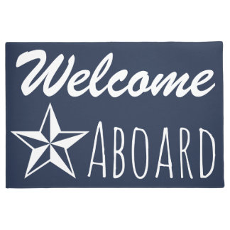 White Nautical Star & Navy Blue Welcome Aboard Doormat