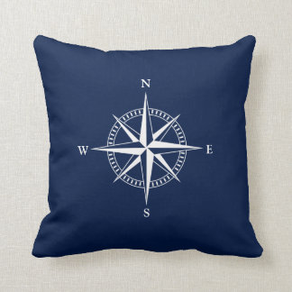 White Nautical Star on Navy Blue Throw Pillow