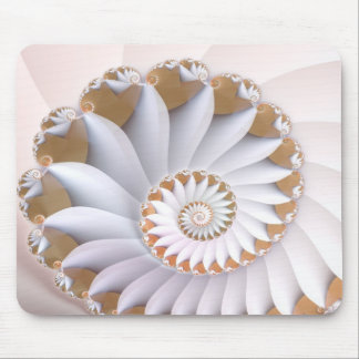 White Nautilus Cute Abstract Seashell Art Mouse Pad